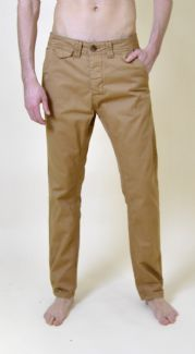 Mens Camel Cotton Turn Up Chinos